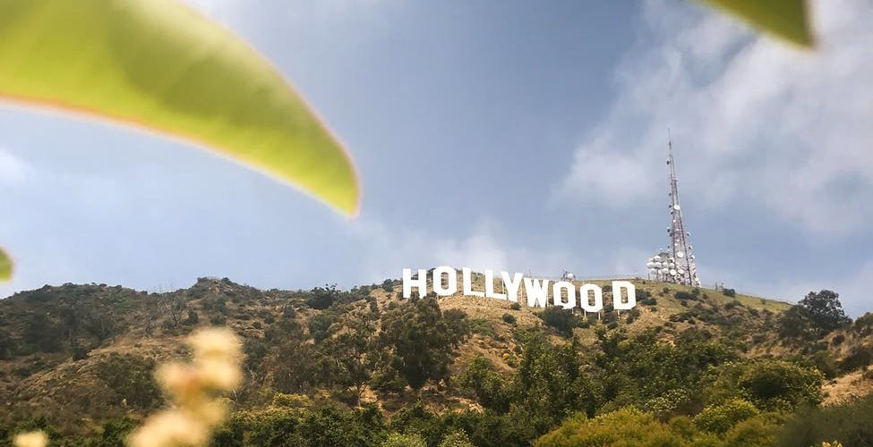 hollywood sign in LA, on top of a hill surrounded by trees