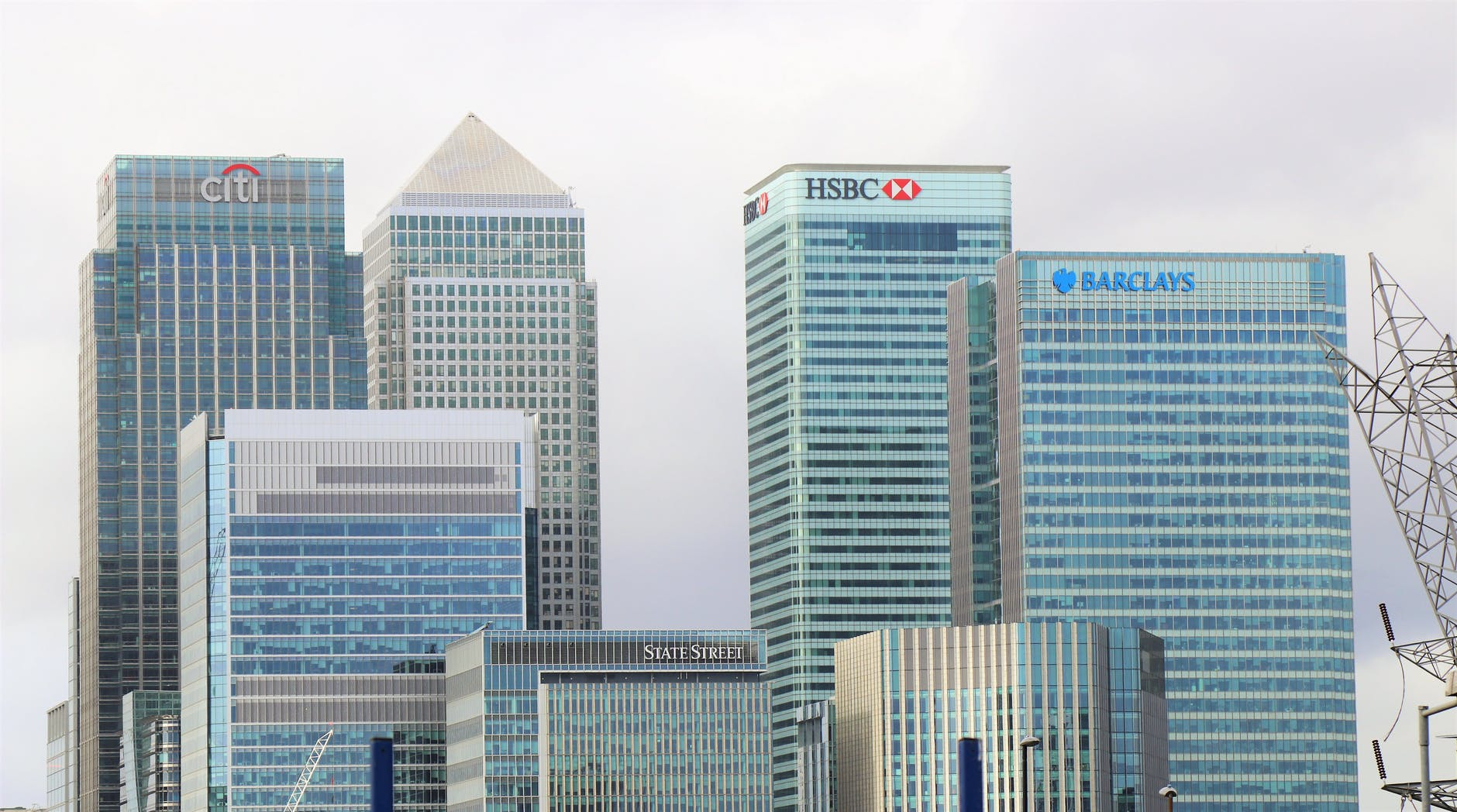 a mixture of bank buildings including HSBC in London