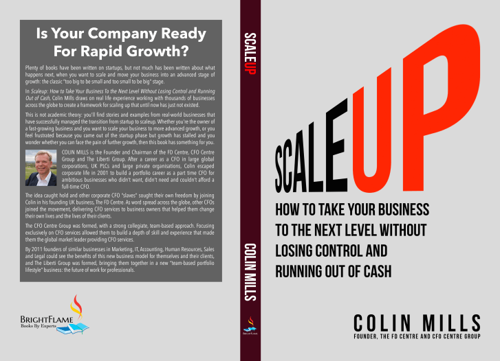the front cover of Colin Mill's scale up book, including the words 'scale up' and the blurb of the book